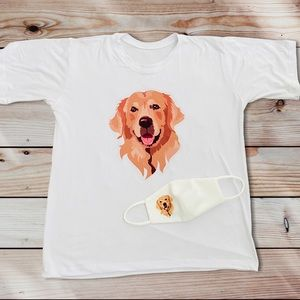 New Golden Retriver T-shirt &  Cute Face Mask